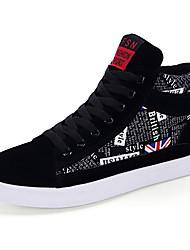 Masculino-Tênis-Conforto-Rasteiro-Marfim / Preto e Vermelho / Preto e Branco-Tecido-Ar-Livre / Casual / Para Esporte