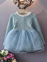 Robe Fille de Mosaïque Décontracté / Quotidien Rayonne Printemps / Automne Bleu / Rose