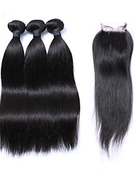 Natural color Peruvian Lace Straight Closure with Bundles 3pcs Hair Weave Middle Free Three Part Virgin Hair