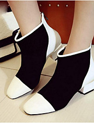 Women's Boots Spring / Fall / Winter Combat Boots Leather Outdoor Chunky Heel Split Joint Black and White Others