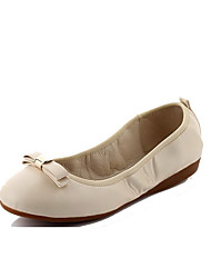 Women's PU Solid Pull-on Round Closed Toe Low-Heels Pump-Shoes