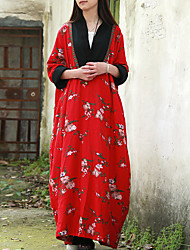 Cynthia Women's Casual/Daily Chinoiserie Loose DressFloral V Neck Maxi Long Sleeve Red Cotton