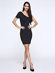 Women's Off The Shoulder Club Sexy Sheath Dress,Solid One Shoulder Knee-length Short Sleeve Red / White / Black Polyester / Nylon Summer
