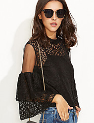 Women's Going out / Casual/Daily Sexy / Simple All Seasons BlouseSolid Crew Neck  Sleeve Black Rayon Thin