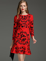 Boutique S Women's Formal / Work Chinoiserie Sheath DressEmbroidered Round Neck Above Knee Long Sleeve Red