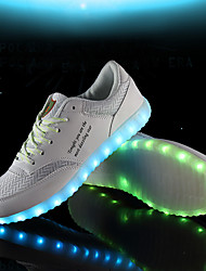 Unisex Sneakers Spring Summer Light Up Shoes Comfort Fabric Leatherette Outdoor Office & Career Athletic Casual Flat Heel Lace-up Walking