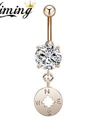 Kiming Women's Stainless Steel Zircon Navel Belly Button Ring Dancing Body Jewelry Piercing Bikini Body Jewelry (1PC)