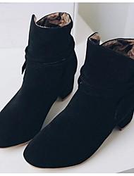 Damen-Stiefel-Outddor-PU-Blockabsatz-Modische Stiefel-Schwarz Gelb Beige