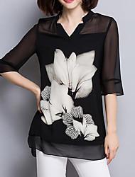 Женский На каждый день Лето Блуза V-образный вырез,Уличный стиль Цветочный принт Черный Рукав ¾,Полиэстер,Тонкая