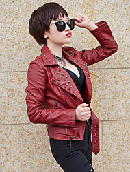Women's Formal Simple Winter JacketsSolid Shirt Collar Long Sleeve Red / White / Black Special Leather Types Thin