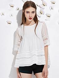 j&les femmes d de sortir / support de polyester blanc t-shirtsolid longueur du col rond manches rose simple,