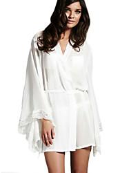 Women Chemises & Gowns NightwearSexy Solid-Thin Chiffon White Women's