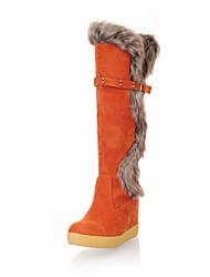 Feminino-Botas-Botas de Neve-Rasteiro-Preto Marrom Laranja Caqui-Camurça Lã-Casual