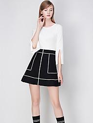 j&régulière cardigansolid blanc / noir / bleu col rond manches polyester de d femmes tombent moyen micro-élastique