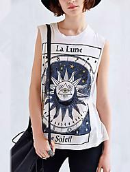 Damen Druck Street Schick Lässig/Alltäglich T-shirt,Rundhalsausschnitt Sommer Ärmellos Weiß Baumwolle Mittel