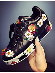 Women's Sneakers Fall Winter Leather Outdoor Platform Flower Black White Others