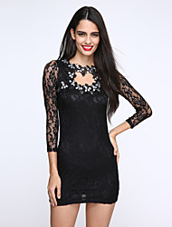 Women's Lace Solid/Lace White/Black Dress,Vintage/Sexy/Lace Crew Neck Long Sleeve