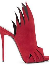 Damen-Sandalen-Outddor-Kunstleder PU-StöckelabsatzSchwarz Rot