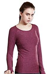 Tee-shirt Aux femmes,Couleur Pleine Décontracté / Quotidien / Sportif simple / Actif Printemps / Automne Manches Longues Col ArrondiBleu