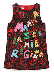 Girl's Casual/Daily Jacquard DressPolyester Summer Blue / Green / Red