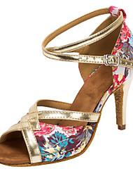 Customizable Women's Dance Shoes Paillette Satin  Latin / Salsa Sandals / Heels Customized Heel Professional / Indoor