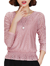 Women's Lace Casual/Daily Simple Fall / Winter BlouseSolid Round Neck Long Sleeve Pink / Red / White / Black Polyester Thin