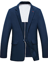 2017 Suits Standard Fit Notch Single Breasted One-button Polyester Solid 1 Piece Navy Blue Straight Flapped