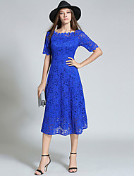 Women's Going out Boho / Sophisticated Lace DressSolid Round Neck Midi  Length Sleeve Blue Polyester Fall