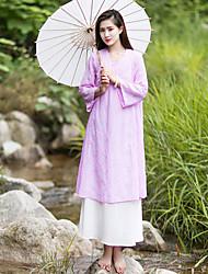 Ample Robe Femme Décontracté / Quotidien simple / Chinoiserie,Broderie Col en V Mi-long Manches Longues Rose / Vert Autres AutomneTaille