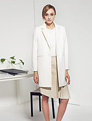 C+IMPRESS Women's Work Simple CoatSolid Peaked Lapel Long Sleeve Winter White Wool / Polyester Medium