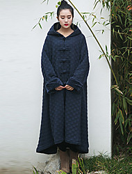 Ramie Cotton Women's Casual/Daily Vintage Trench CoatPolka Dot Hooded Long Sleeve Fall