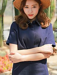 Damen Solide Retro / Anspruchsvoll Ausgehen / Lässig/Alltäglich T-shirt Rock,Ständer Sommer Ärmellos Blau Baumwolle / Leinen Dünn