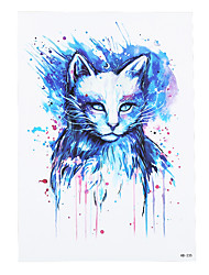 1pc Beauty Blue Colored Drawing Cat Picture Design Waterproof Temporary Tattoo for Women Body Art Tattoo Sticker HB-235