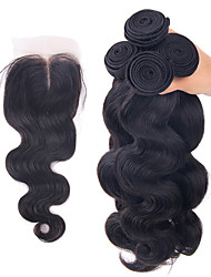4Pcs/Lot Brazilian Virgin Hair Body Wave Hair Weft With 1Pcs Lace Closure Free/Middle /Three Part Raw Human Hair Weaves