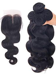 Trama do cabelo com Encerramento Cabelo Brasileiro Onda de Corpo 6 meses 4 Peças tece cabelo