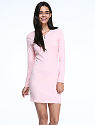 Women's Slim Package Hip V Neck Zipper Long Sleeve Dress