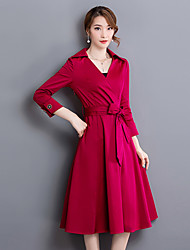 Women's Going out Street chic Sheath DressSolid V Neck Midi  Sleeve Red / Black Polyest