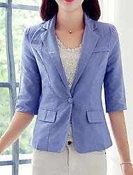Damen Solide Einfach Lässig/Alltäglich / Arbeit / Übergröße Blazer,Gekerbtes Revers Sommer ¾-Arm Blau / Weiß / Gelb Baumwolle / Leinen