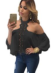 Tee-shirt Aux femmes,Couleur Pleine Soirée Sexy Eté Manches Longues Col Roulé Blanc / Noir Polyester / Spandex Fin