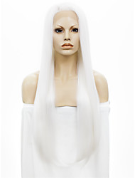 IMSTYLE 30 Extra Long White Straight Synthetic Lace Front Wigs Heavy Density Dyeable