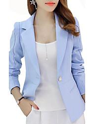 Damen Solide Einfach Lässig/Alltäglich / Arbeit Blazer,Gekerbtes Revers Herbst Langarm Blau / Rosa / Rot Polyester Mittel