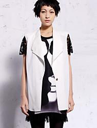 nouveau avant que le travail simple ressort des femmes blazersolid manches asymétrique blanc / noir / jaune