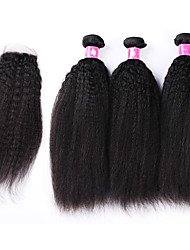 Brazilian Virgin Hair Weaves Bundles with Lace Closure Kinky Straight 1B Soft Remy Human Hair Closures