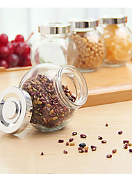 Spherical Glass Jar Pot Beans Kitchen Storage Condiment Dispenser