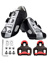 Cycling Shoes Unisex Outdoor / Road Bike Sneakers Damping / Cushioning Black / Silver-sidebike And LOOK Lock Sheet