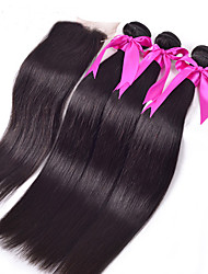 4PC/Lot Lace Closure With Bundles Malaysian Virgin Straight Hair 1PC Lace Closure with 3Pcs Hair Bundle