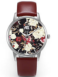 Louis Silver Case Colorful Flower Dial Brown Leather Strap Watch