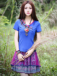 Our Story Going out Boho Summer T-shirtSolid Round Neck Short Sleeve Blue Polyester Medium