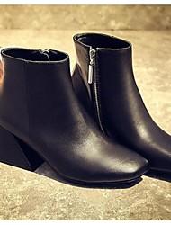 Черный / Розовый / Красный-Женский-Для прогулок-Кожа-На толстом каблуке-Военные ботинки / Ботинки-Ботинки