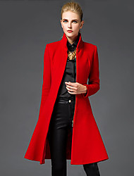 Women's Going out Sophisticated CoatSolid Stand Long Sleeve Winter Red / Black Wool Medium